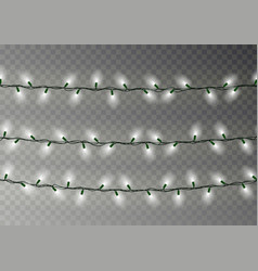 christmas white lights string transparent effect vector image