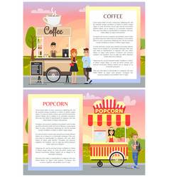 coffee and popcorn wagons in city park poster vector image