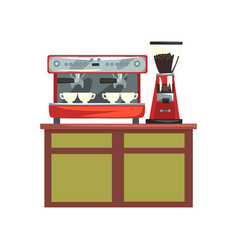 Coffee machine and electric coffee grinder on vector