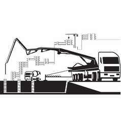 concrete pump truck working on construction site vector image