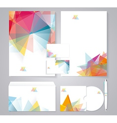 Corporate identity template with color geometric vector image