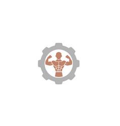 Creative bodybuilder muscle gear logo design vector
