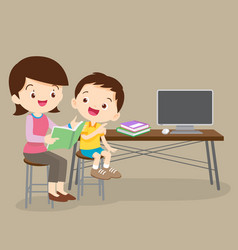 Cute boy and mother reading book together vector