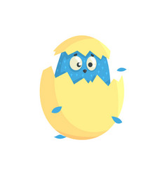 Cute little blue funny chick in the egg shell vector