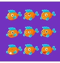 Cute Orange Aquarium Fish Cartoon Character Set Of vector image