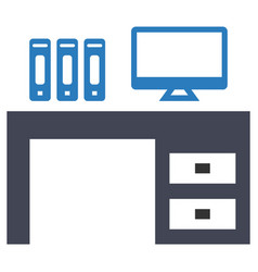 Desk workplace office icon vector