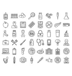 Diabetes care icons set outline style vector
