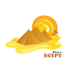 egypt pyramids with sun vector image