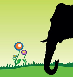 elephant head with flower vector image