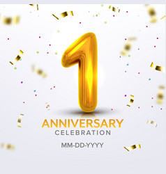 first anniversary birth celebration number vector image