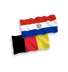 Flags belgium and paraguay on a white vector
