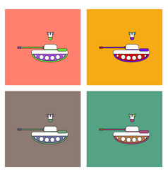 Flat icon design collection tank and mortar shell vector