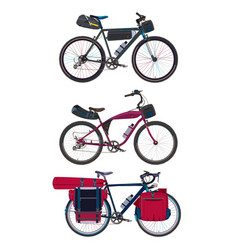Flat set of bikepacking bikes with vector