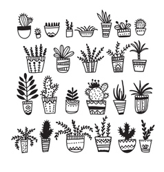 Flower pots set drawn in ethnic ornate hand drawn vector