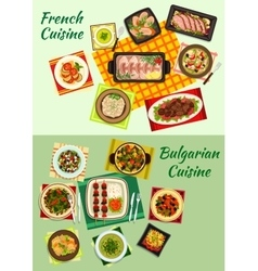 French and bulgarian cuisine dinner dishes icon vector image