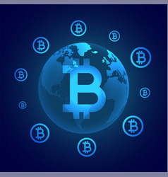 Global bitcoin digital currency concept vector