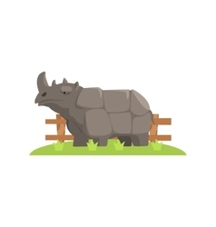 Grey Rhinoceros Standing On Green Grass Patch In vector