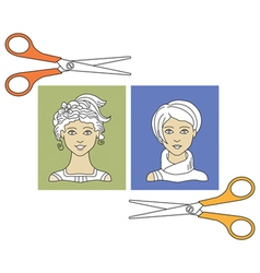 Hairstyles and scissors 3 vector