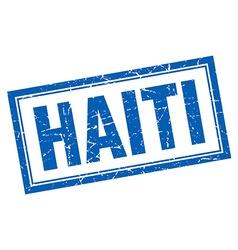 Haiti blue square grunge stamp on white vector