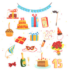 Happy birthday party set of isolated cute cartoon vector