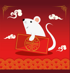Happy new year chinese with rat and decoration vector