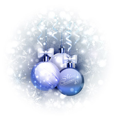 Holiday blue background with christmas baubles vector