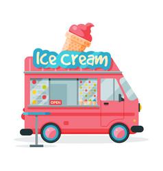 Ice cream food truck street meal van fast food vector