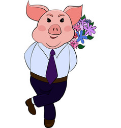 Isolated emoji character cartoon pig embarrassed vector