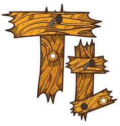 Letter t from wooden planks alphabet vector