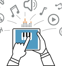 Making music via modern digital gadget Simple line vector