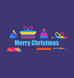 merry christmas multi colored christmas tree and vector image