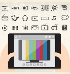 mobile smart tv and entertainment icons set vector image