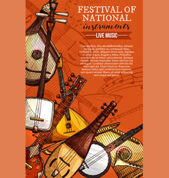 music festival national instruments poster vector image