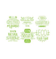 natural fresh food green labels set gmo free vector image