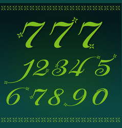 numbers 0-9 flower and luxury vector image
