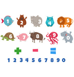 Numbers set with cartoon animal characters vector