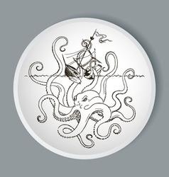 Octopus kraken attacks boat vector