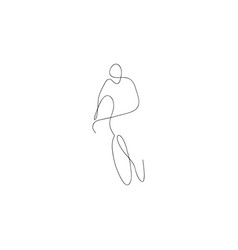 one line bicyclist hand drawn sketch vector image