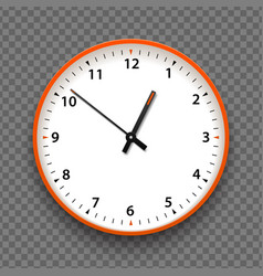 orange and white wall office clock icon with vector image