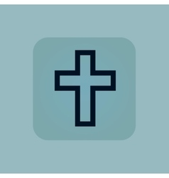 Pale blue christian cross icon vector