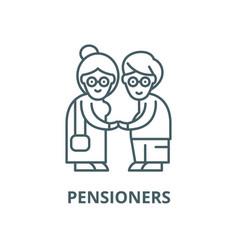 Pensioners line icon linear concept vector