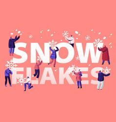 People enjoying snowfall concept happy characters vector