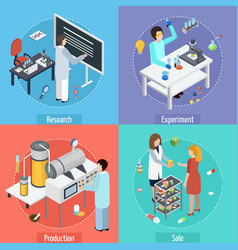 Pharmaceutical production 4 isometric icons vector