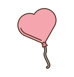 pink balloon form heart love icon vector image