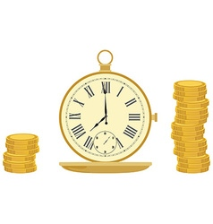Pocket watch and coins vector