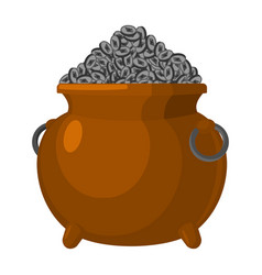 pot with etherium treasures of cryptocurrency lot vector image