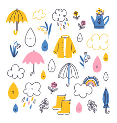 rainy spring weather cute characters set vector image