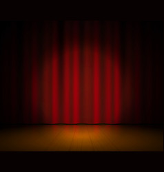 Realistic theater stage red curtains vector