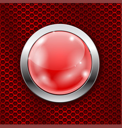 Red round glass button with metal frame on red vector