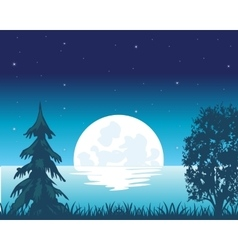Rise of the riverside moon vector image